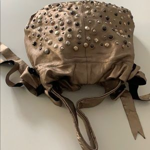 HYPE Gold Distressed leather drawstring bag studs